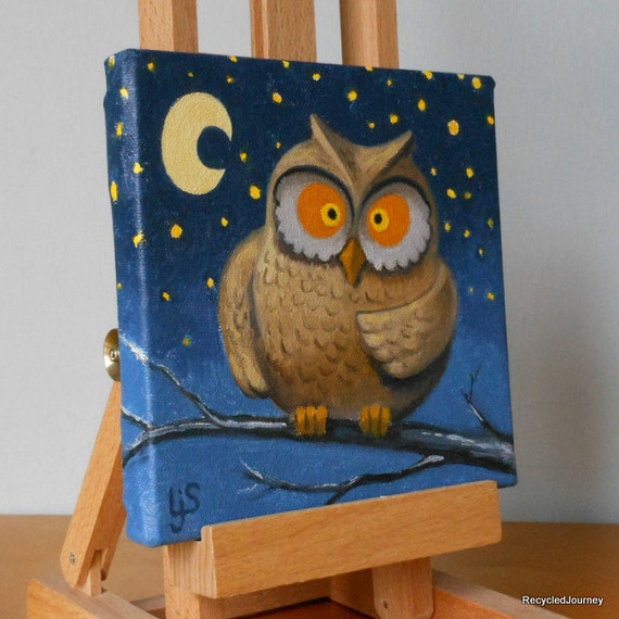 Good night owl orginial oil painting for Night owl paint color