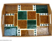Mosaic Serving Tray, Amber, Green Stained Glass