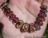 RESERVED for Karen Spring Carnival Handmade Boro Lampwork Glass Bead Set Beads by Christina Burkhart