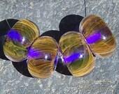 Gold Fumed Stripes Over Cobalt Handmade Boro Lampwork Glass Bead Set Beads by Christina Burkhart