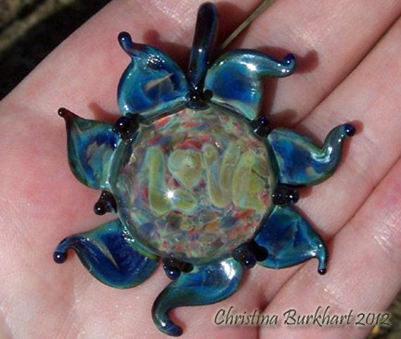 "Amber-Blue ""Love"" Flower Handmade Boro Lampwork Glass Bead  Focal Pendant By Christina Burkhart"