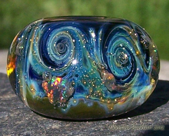 Galactic Sparkle Handmade Boro Lampwork Glass Galaxy Bead Focal Bead With Gilson Opals and Pure Silver