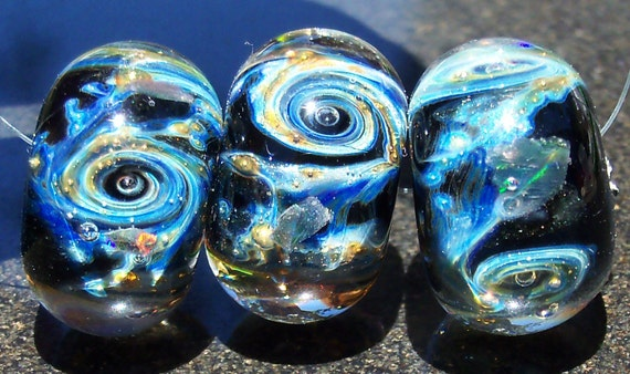 Galactic TravelsTrio Handmade Boro Lampwork Glass Galaxy Bead Focal With Gilson Opals and Pure Silver