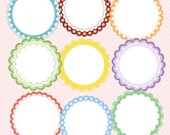 9 chic stylish scalloped circle lace lables frames tags vintage inspired F135- unique clipart download for do it yourself  creative projects