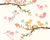 love birds spring flowering cherry tree branch pink blossoms cute nest A121- unique clipart for do it yourself invites creative projects