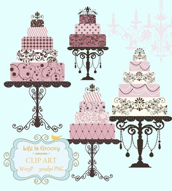 elegant lilac pink plum wedding cakes - 4 large multi tier cakes & stands unique clipart for do it yourself projects