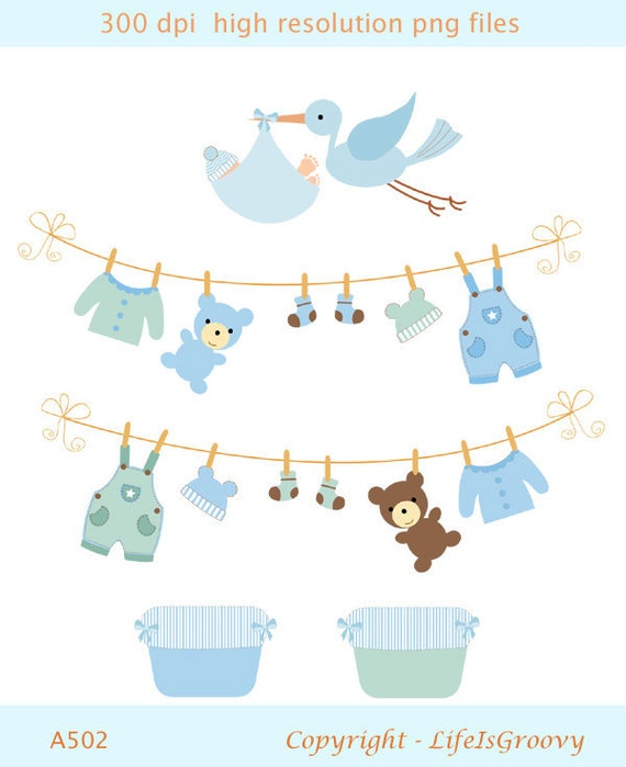 Baby boy laundry line & bird delivery A502- unique clipart  download for do it yourself baby shower birthday cards invites projects