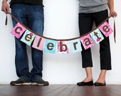 Celebrate fabric banner bunting pennant in bright pink and turquoise