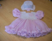 Pretty in Pink crocheted baby dress size 12 months