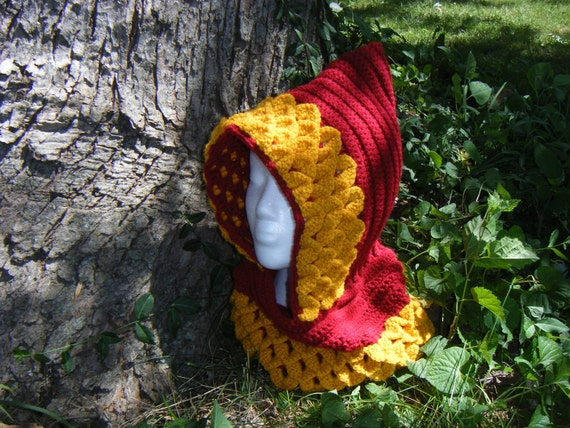 Sale - Two Toned Dragon Scale Stitch Hood - Crimson/Gold - Lannister Colors - FINISHED ITEM
