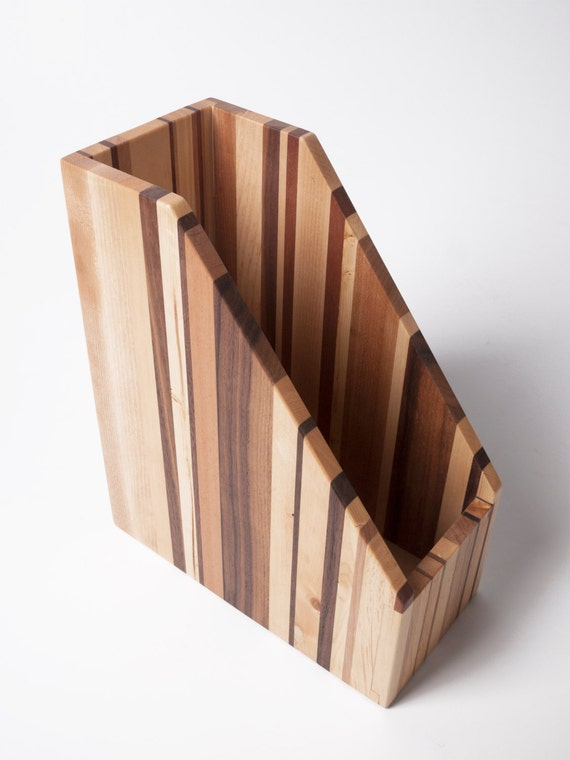 wooden file holder magazine rack recycled wood