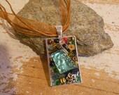 Ocean Treasure Necklace, Silver metal Mosaic  Pendant, glass and natural stones