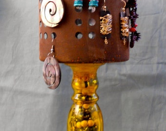 Earring stand/holder - Sale - Stylish Rustic Look - Re purposed Found Objects - OOAK