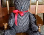 CASHMERE Heirloom  Teddy Bear -- Brown/Black Houndstooth (also available in Navy Blue, Gray.  Only one of each left.