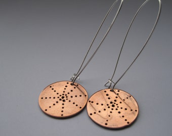 Sea Urchin Copper Metal Stamped Earrings