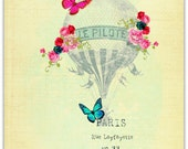 Le Pilote Whimsical Hot Air Balloon 3 piece Etsy Shop Banner and Avatar set by Tattered Bella