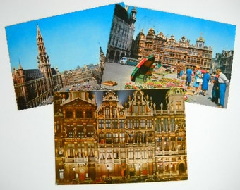 CLEARANCE 1960s Post Cards of Brussels Belgium Set of Three with Message