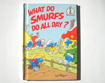 Vintage Smurfs book by Peyo: 1980s Hardcover Kids Book