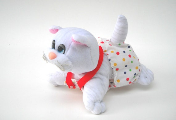 80s Pound Purrries Plush: White Kitten with Romper