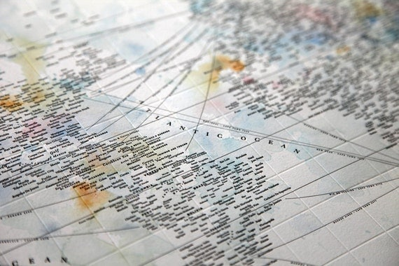 Typographic World Map with Watercolor