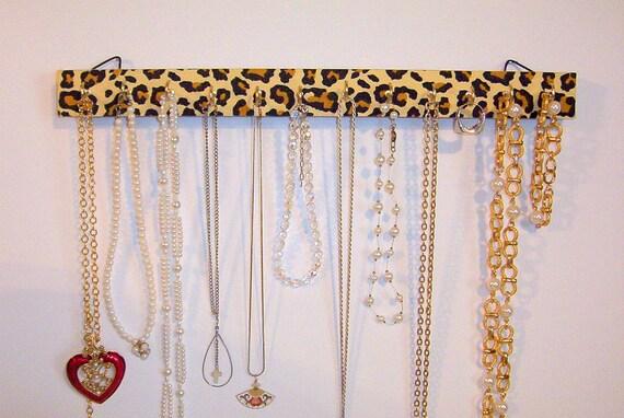 Jewelry Bracelet Necklace Holder Organizer Display with Leopard Print