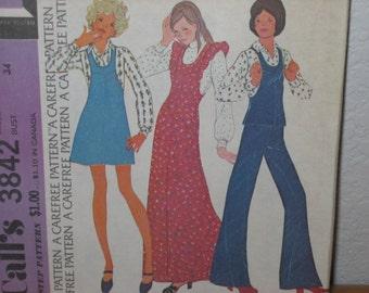 Vintage McCALL'S Pattern 3842  Misses' Jumper Or Top  1973  Uncut
