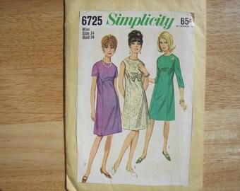 Simplicity Pattern 6725 Misses' One-Piece Dress    1960's    Uncut
