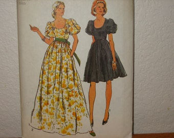Vintage Simplicity Pattern 5897 Misses' Dress in Two Lengths  Gown     1970's     Uncut