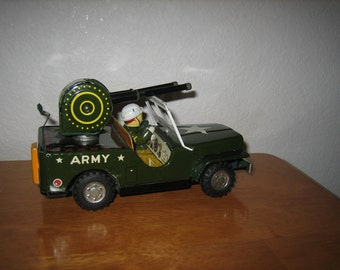 Vintage Army Jeep Car Tin Friction Toy  Japan    1950's