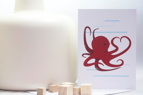 Octopus Love Valentine's Day card (blank)