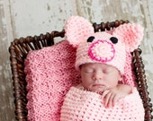 Baby Crochet Hat Piggy Beanie Newborn Photography Prop