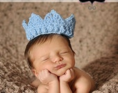 Blue Crown for the Prince Baby Boy Photography Prop Sizes Preemie, Newborn, 0-3 months, 3-6 months