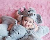 Baby Boy Baby Girl Crochet Hat Elephant Earflap Photo prop Ready Item