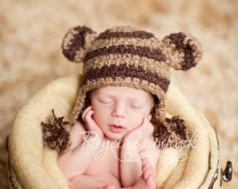 Striped Monkey Baby Boy or Baby Girl Crochet Hat Photography Prop Ready Item