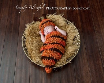 Baby Boy or Baby Girl Crochet Set Bee Cocoon and a Bee Hat  Photography Prop