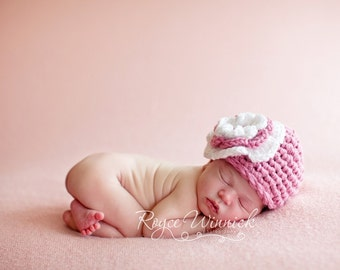 Ruffled Flower Beanie Baby Newborn Crochet Photography Prop