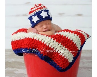 American Flag Set Crochet Beanie and Blanket for Baby Boys or Baby Girls Ready Item