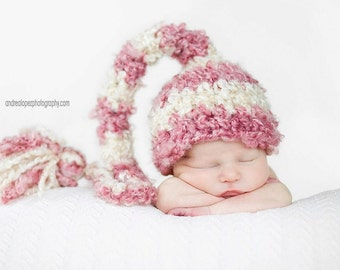 Baby Girl Crochet Hat Striped Long Tail Elf Photography Prop