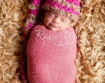 Pink Striped Elf  Hat Baby Photohraphy Prop Sizes Preemie, Newborn, 0-3 months, 3-6 months