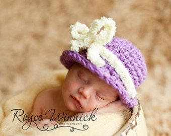 Crochet Baby Girl Hat Purple Cloche Photography Prop sizes Preemie, Newborn, 0-3 months, 3-6 months