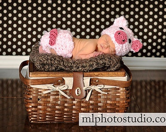 Fuzzy Piggy Set Crochet Baby Girl Hat and Diaper cover Newborn Photography Prop