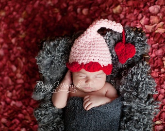 Elfin Hat with a Heart  Baby Photography Prop Sizes Preemie, Newborn, 0-3 months, 3-6 months
