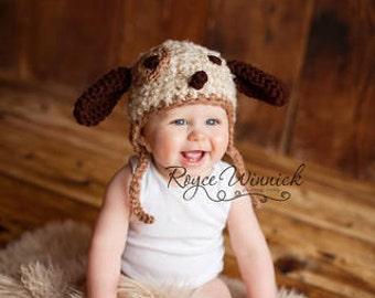 Fuzzy Puppy Earflap Crochet Baby Photography Prop sizes newborn 0-3 months 3-6 months