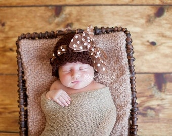 Baby Girl Crochet Hat with Polka Dot Bow Photography Prop ready Item