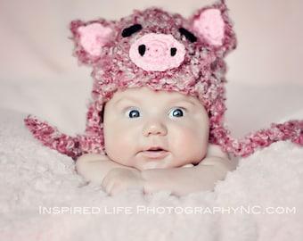 Piggy Earflap crochet Baby Newborn Photography Prop