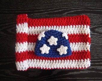 American Flag Cocoon Set SALE Crochet Baby Newborn Photography Prop Ready Item