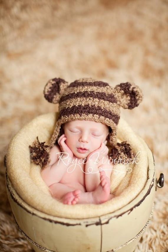 Striped Monkey Baby Boy or Baby Girl Crochet Hat Photography Prop Ready Item