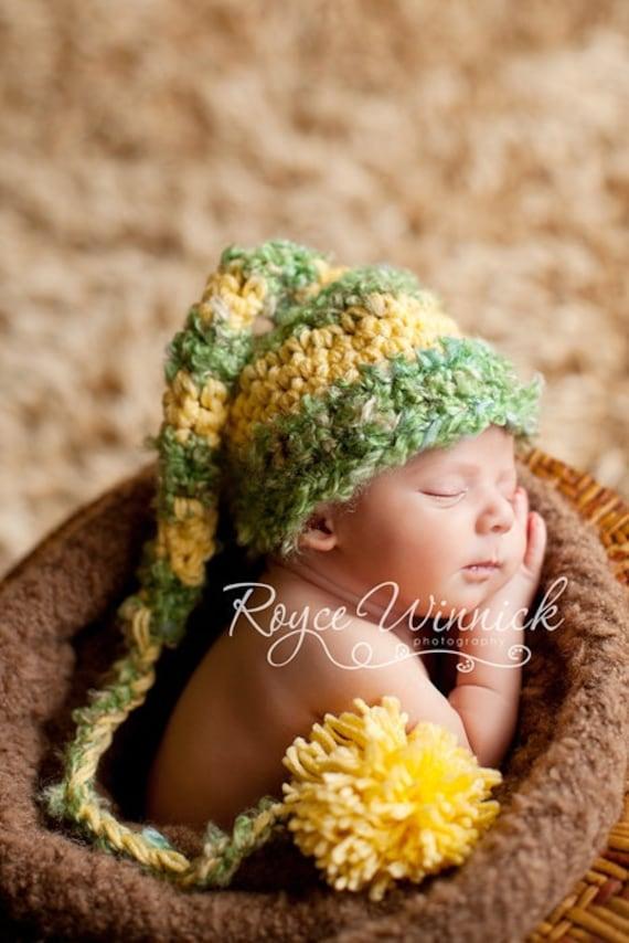 Green Elf Hat Baby Newborn Crochet Photography Prop