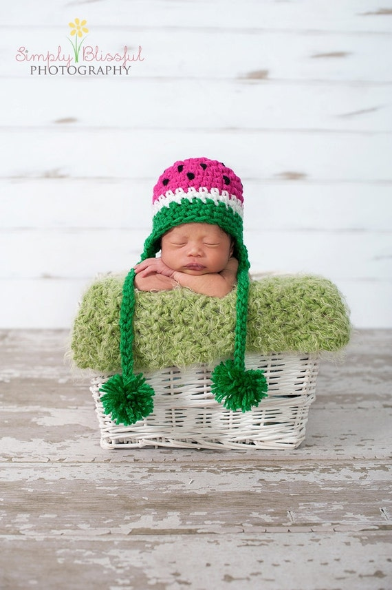 Watermelon Hat Baby Boy or Baby Girl Crochet Photography Prop Ready Item
