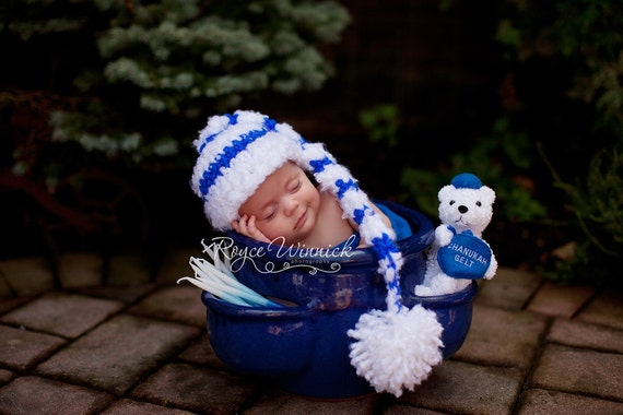 Chanukah Elf Baby Crochet Hat Photography Prop All Sizes Preemie, Newborn, 0-3 months, 3-6 months and up